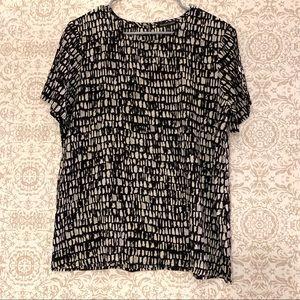 Eileen Fisher 100% Silk Print Blouse
